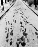 Molte tracce di sogliole nella neve nel vicolo Immagine Stock Libera da Diritti