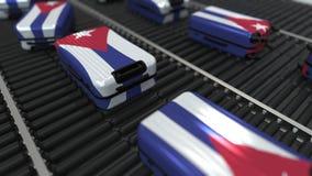 Molte valigie di viaggio che caratterizzano bandiera di Cuba r illustrazione vettoriale