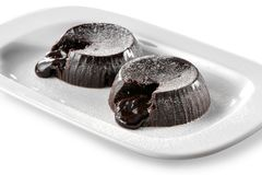 Molten chocolate lava brownie cakes  close-up  on white background Stock Photography