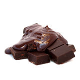 Molten Chocolate On Chocolate Tablets Stock Photo