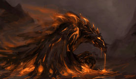 Molten dragon. Molten rock dragon rising from stones Stock Photography