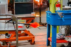 Molten glass being made into an ornament Royalty Free Stock Images