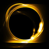 Molten gold ring on a black background. Abstract fire fractal with round hole on black background. Raster graphic pattern Royalty Free Stock Photo