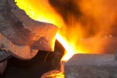 Molten hot steel. On metal works Royalty Free Stock Photos