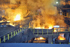 Molten hot steel pouring Stock Image