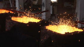 Molten iron in forms stock video