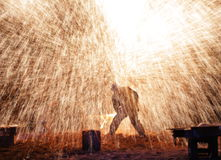 Molten iron into the ice Royalty Free Stock Image
