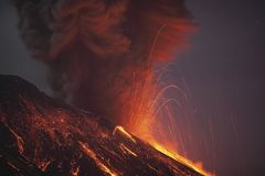 Molten lava erupting from Sakurajima Kagoshima Japan Royalty Free Stock Image