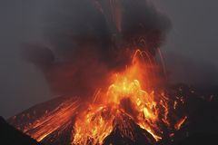 Molten lava erupts from Sakurajima Kagoshima Japan Stock Photos