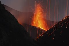 Molten lava erupts from Stromboli Sicily Royalty Free Stock Images