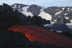 Molten lava flows from Mount Etna in Sicily Val de Bove Stock Images