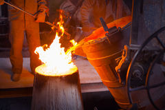 The molten metal in the smithy Royalty Free Stock Photo