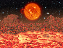 Molten planet.Moon.Elements of this image furnished by NASA. Royalty Free Stock Image