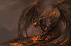 Molten roch dragon royalty free illustration