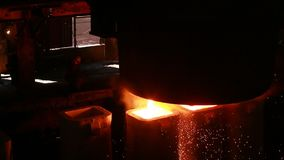 Steel mill at work stock video
