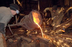 Molten steel pouring Royalty Free Stock Photography