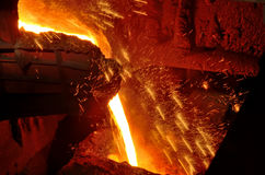 Molten steel pouring Stock Image