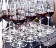 Molti bicchieri di vino Fotografia Stock