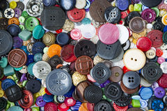 Molti bottoni di vari forme e colori Fotografia Stock Libera da Diritti
