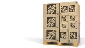 Molti cartoni con il logo di Home Depot Rappresentazione editoriale 3D illustrazione vettoriale