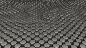 Molti cilindri astratti, l'illusione ottica come mare ondeggia, 3D generato da computer moderno rendono il contesto illustrazione di stock