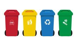 Molti colorano i recipienti dell'impennata messi con l'icona residua Fotografie Stock Libere da Diritti