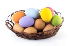 Molti colore della merce nel carrello dell'uovo Fotografie Stock