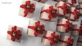 Molti contenitori di regalo bianchi con il nastro rosso Fotografia Stock Libera da Diritti