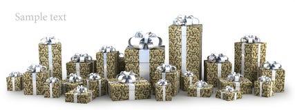 Molti contenitori di regalo con il nastro   Immagini Stock