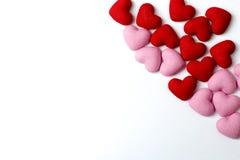 Molti cuori rossi e rosa su un fondo bianco Fotografia Stock Libera da Diritti