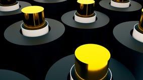 Molti 3D cilindri brillanti, il contesto generato da computer astratto, 3D rendono Fotografie Stock Libere da Diritti