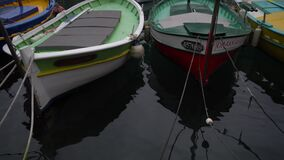 Molti differenti di piccoli pescherecci a porto di Nizza, Francia video d archivio