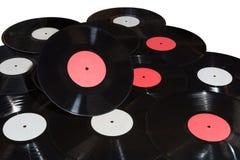 Molti dischi del vinile rossi ed etichetta bianca Fotografie Stock