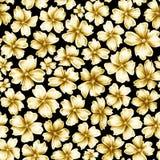 Molti fiori colorati dorati di dimensione differente come la fibula dei gioielli su fondo nero illustrazione di stock