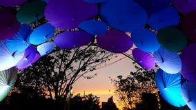 Molti hanno colorato l'ombrello di stile cinese in un fondo Immagini Stock