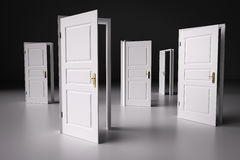 Molti modi scegliere da, porte aperte Processo decisionale Fotografia Stock Libera da Diritti