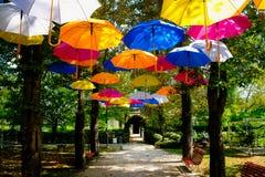 Molti, molti ombrelli variopinti alla delizia di tutti fotografie stock