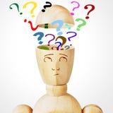 Molti punti interrogativi nella testa umana Fotografie Stock