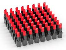 Molti rossetti rossi Immagini Stock