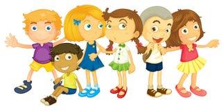 Molti scolari che stanno nel gruppo royalty illustrazione gratis