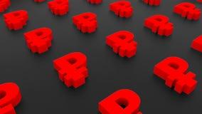 Molti segni della rublo su fondo nero, 3d illustrazione, rappresentazione del computer Immagini Stock Libere da Diritti