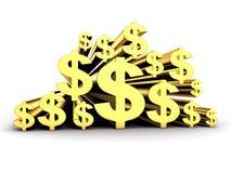 Molti simboli di valuta dorati del dollaro Fotografia Stock Libera da Diritti