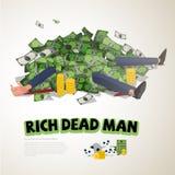Molti soldi sull'uomo d'affari ricco ricchi e concetto morto - vect Fotografie Stock Libere da Diritti