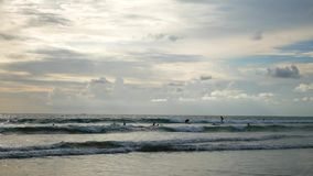 Molti surfisti guida le onde di oceano alla spiaggia a Bali archivi video