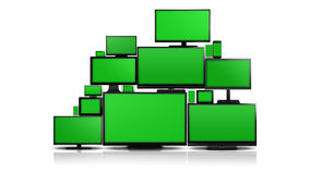 Molti tipi differenti di schermi con lo schermo verde Fotografia Stock