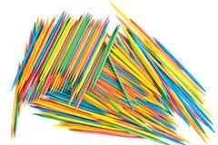Molti Toothpicks colorati fotografia stock