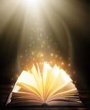 Molti vecchi libri su fondo di legno La fonte di informazione Libro aperto dell'interno Biblioteca domestica La conoscenza è pote fotografie stock libere da diritti