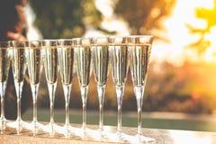 Molti vetri di champagne o del prosecco vicino allo stagno della località di soggiorno in un luxu Fotografie Stock Libere da Diritti