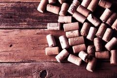Molti wine struttura dei sugheri Copyspace, vista superiore Fotografia Stock Libera da Diritti