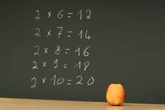 Moltiplicazione della Tabella sullo scrittorio della lavagna con la mela Immagini Stock Libere da Diritti